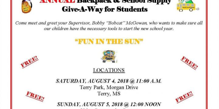 Back to School Annual Backpack & School Supply Give-A-Way for Students