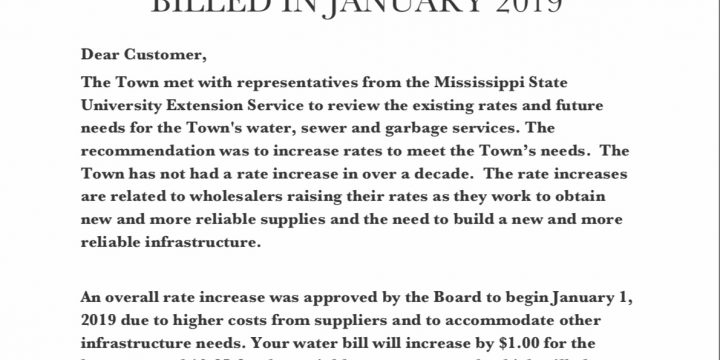 Notice of Increased Water/Sewer/Garbage Rates