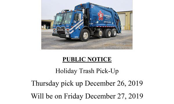 PUBLIC NOTICE:  Holiday Trash Pick-Up