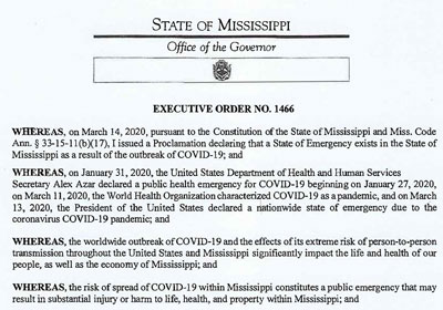 Governor Tate Reeves Issues a Statewide Shelter-In-Place to Protect Public Health